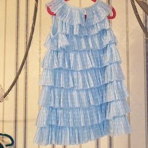 Light Blue Layered Swiss Dot Ruffled Girls Dress